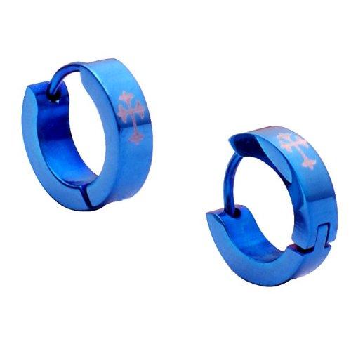 Blue Stainless Steel Mens Cross Hoop Earrings Jewelry
