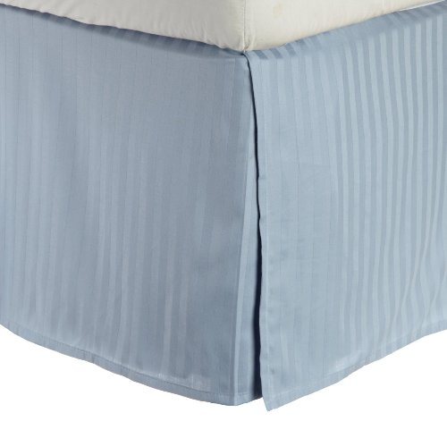 100% Premium Long-Staple Combed Cotton 300 Thread Count King Bed Skirt Stripe, Light Blue