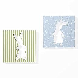 Rabbit Polka Dots And Stripe Canvas Nursery Wall Art Decor