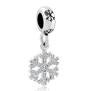 Pugster Christmas Gift Clear White Crystal Snowflake Dangle Spacer Charm Bead