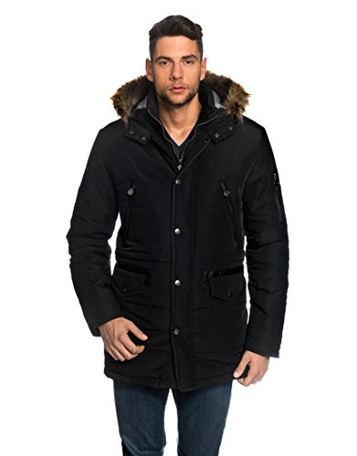 VB Men's Winter Coat with stand-up Collar, Hood, detachable fake fur, waist drawstring,black,Large