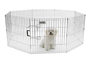 Precision Pet Boxed Exercise Pen with Door, 24-Inch, Silver