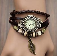 アンティーク 風 エスニック多重レザー ベルトブレス腕時計 フリーサイズ  (ブラウン)