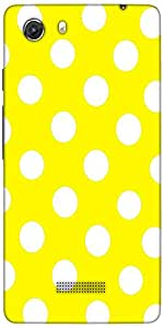 Snoogg Yellow Polka Dot Designer Protective Back Case Cover For Micromax Unit...