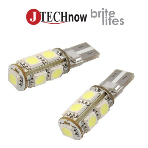 Jtech 2 X T10 9X5050 Smd Led Canbus Error Free Light Bulb