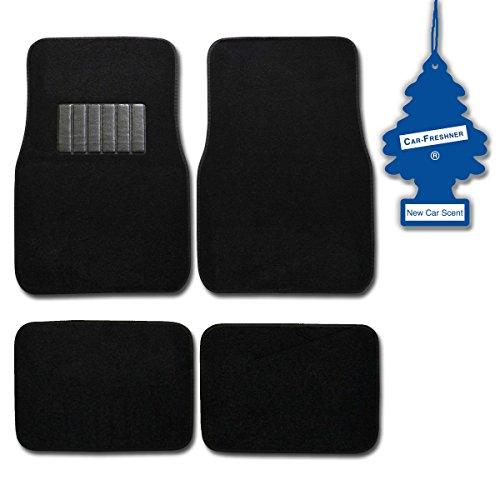 Bdk Black 4 Pc Universal Carpet Car Mats W/ Heel Pad + Little Tree New Car front-530999