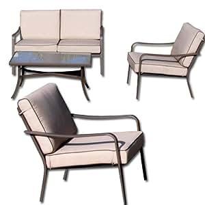 Salotto da giardino in ferro divanetto poltrone e tavolo for Amazon poltrone