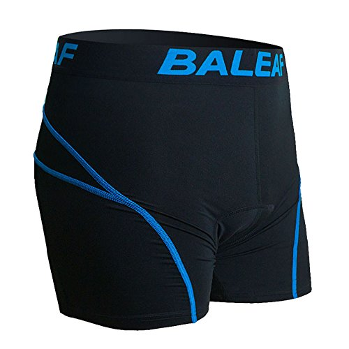 Baleaf Men's 3D Padded Coolmax Bicycle Cycling Colored Underwear Shorts (Blue, L)