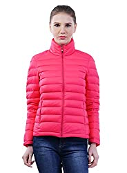 FINEQLO Women's Synthetic Quilted Jacket_Pink_L