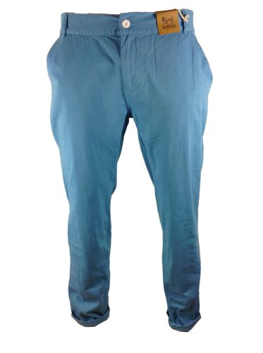 Mens Bellfied Colour Chinos Sky Blue Fashion Trousers 30
