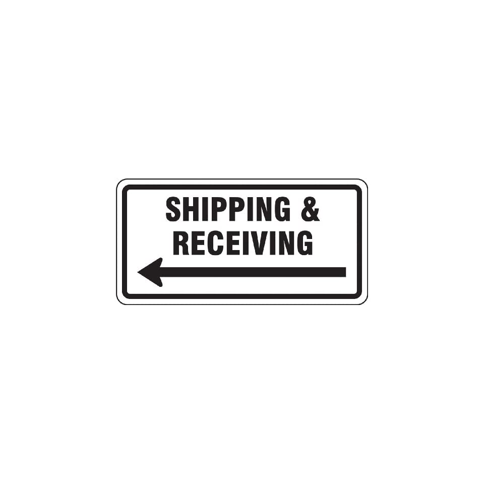 Accuform Signs FRR268RA Engineer Grade Reflective Aluminum Facility Traffic Sign, Legend SHIPPING & RECEIVING (ARROW LEFT), 12 Length x 24 Width x 0.080 Thickness, Black on White
