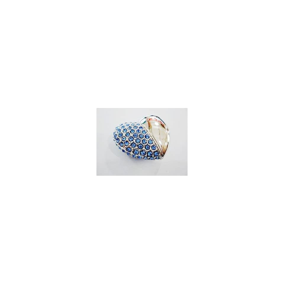 Crystal Heart Shape Jewelry USB Flash Drive with Necklace8GB(Blue)