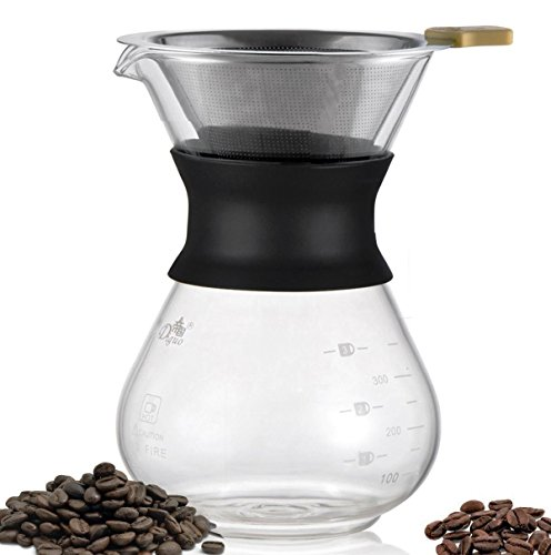 Diguo Pour Over Coffee Maker with Stainless Steel Permanent Filter Glass Coffee Maker Drip Pot (300m