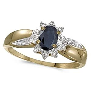 Blue Sapphire and Diamond Right Hand Flower Ring 14k Yellow Gold (0.55ct)