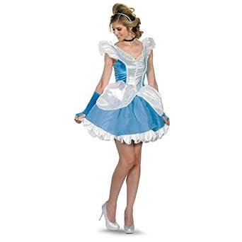 Disguise Disney Deluxe Sassy Cinderella Costume, Blue/White, Small/4-6