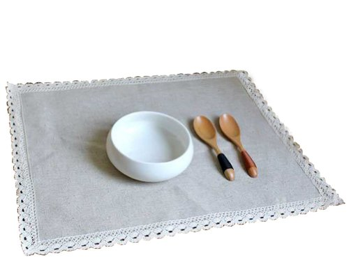 "Set Of 4 Cotton And Hemp Lace Place Mats 14""X18""-Four Place Mats(Gray) front-250404"
