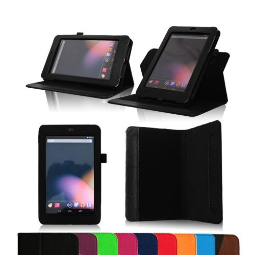 Fintie Dual-View Multi Angle (Black) Leather Folio Case Cover for Google Nexus 7 Tablet (Auto Wake/Sleep Feature) -9 Color Options:Black,Green,Blue,Orange,Red,Navy, Pink,Purple,Dual