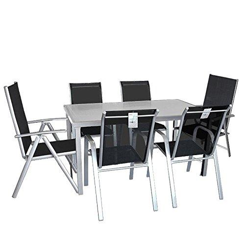 7tlg. Gartengarnitur Sitzgruppe Gartenmöbel Terrassenmöbel Set Gartentisch Glastisch satiniert 150x90cm + Stapelstuhl + Hochlehner günstig