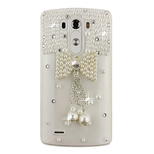 LG Escape 2 / Spirit 4G LTE Case, Sense-TE Luxurious Crystal 3D Handmade Sparkle Diamond Rhinestone Cover with Retro Bowknot Anti Dust Plug - Bowknot Pearl Pendant / White (4g Pearl Plugs compare prices)