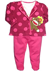 Baby Starters Baby-girls Sock Monkey Outfit (3 Piece)