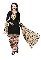 V-Kart Women's Cotton Unstitched Dress Material (Vkart_345_Black_Free Size)