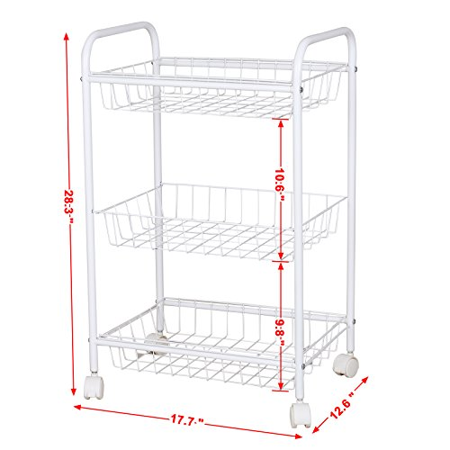 Songmics 3 Tiers Rolling Storage Cart With 2 Removable