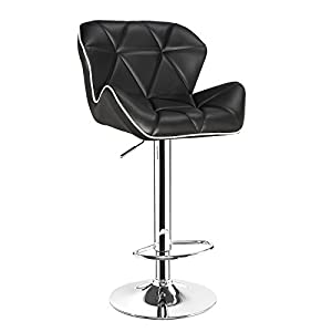 NEW Winchester Black with White Piping Breakfast Kitchen Leather Bar Stool x 2