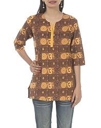 Rajrang Womens Cotton Kurta ,Brown ,Large