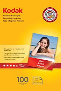 Kodak Premium Photo Paper, 4 x 6 Inches, Gloss, 100 sheets (1034388)