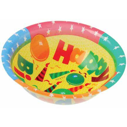 Dozen Happy Birthday Theme Plastic Party Bowls - 1