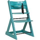 笑顔のダイニングベビーチェアー 木製椅子 安心強度の三角形ベース 【マジカルチェア】 ターコイズブルー色