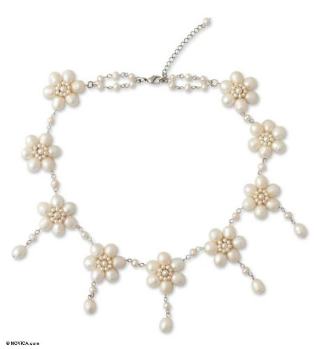 Pearl Floral Choker Necklace, 'White Jasmine'