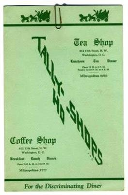 Tally Ho Shops Menu Tea Coffee Shop 17Th St Nw In Washington Dc 1941
