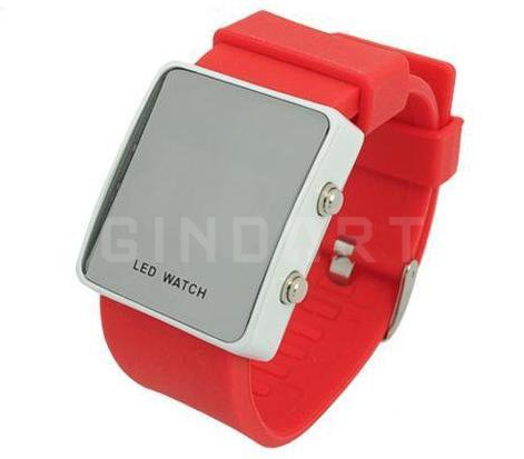 Mirror Men Lady LED Digital Sport Unisex Wrist Watch Gift Jelly