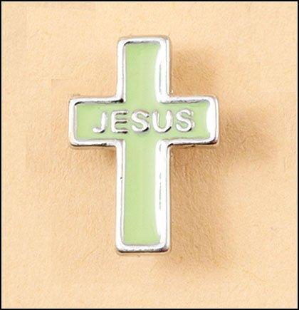 Jesus Green Cross Lapel Pin