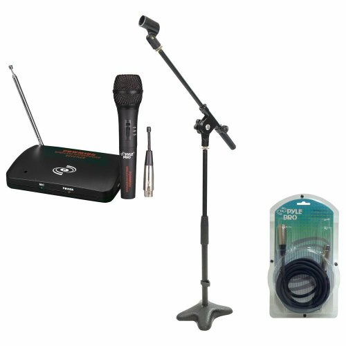 Pyle Mic And Stand Package - Pdwm100 Dual Function Wireless/Wired Microphone System - Pmks7 Compact Base Microphone Stand - Ppfmxlr15 15Ft. Xlr Male To Xlr Female Microphone Cable