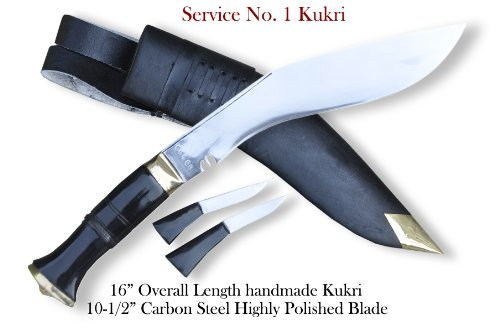"Genuine Gurkha Kukri-authentic 10.25"" blade Service #1 official issued to Gurkhas Kukri-Rat tail tang water buffalo horn handle, black leather"