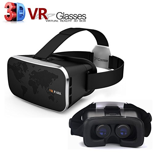 Virtual Reality 3D Glasses, Costech Adjustable VR Headset Hands Free for VR AV Game Movies Videos Fit with Apple iPhone,Samsung,Other 4.7 to 6 Inch Android Smart Phones(Black)