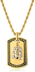 Goldtone or Silvertone - Stainless Steel Sandblast Jesus Face Dog Tag Pendant with a 24 Inch Rope Chain