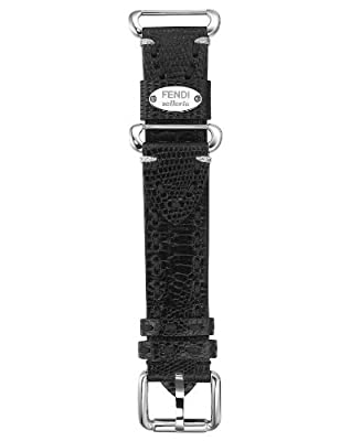 Fendi Selleria 18 mm Genuine Leather Strap Watch Band Stainless Steel (Black)
