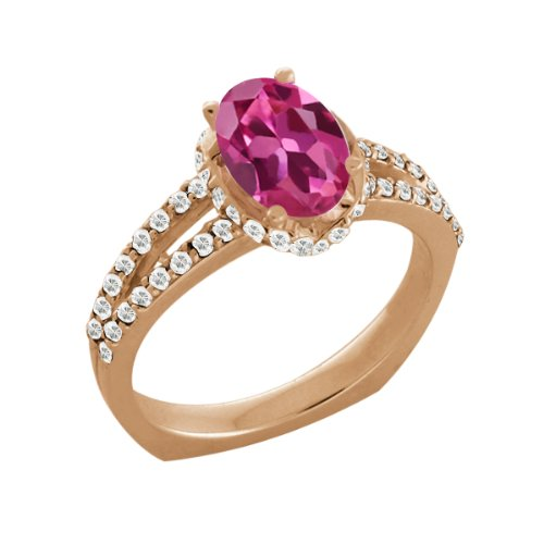 1.36 Ct Oval Pink Tourmaline White Sapphire Rose Gold Plated Silver Ring