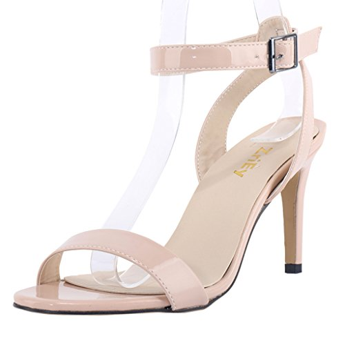 ZriEy Women Ankle Strap Open Toe Stiletto Mid High Heel Sandals for Party Wedding Dancing Patent Leather Nude size 7.5