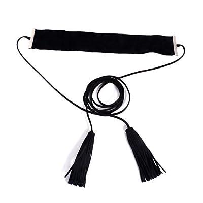 Mr Rabbit Women Handmade Black Wide Velvet Tassel Collars Choker Necklace