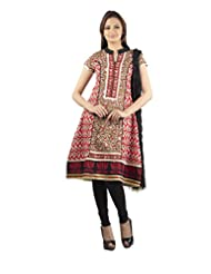 Rama Set Of Bagru Print Black-Red Color Kurti With Black Color Legging & Duppatta