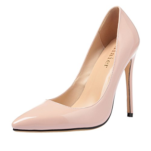 Calaier 2016 Designer Luxury Sexy Ladies Bridal Wedding Parties Valentine Extreme High Heel Shoes Pumps Nude Size 5