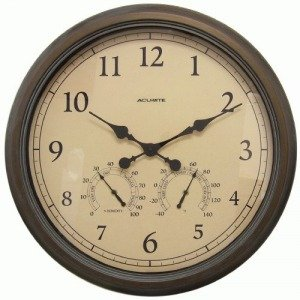 24-inch Weathered Wall Clock with Thermometer and Hygrometer by AcuRite