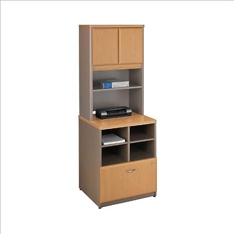 Bush Series A Storage Cabinet with Hutch in Light Oak
