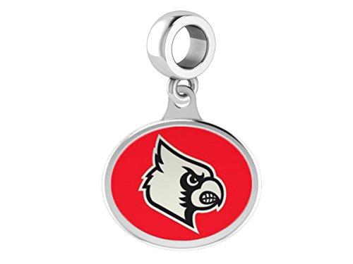 Louisville Cardinals Sterling Silver Enamel Drop Charm Fits All European Style Charm Bracelets