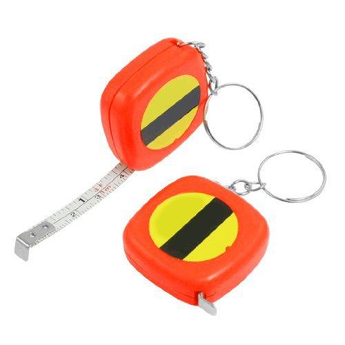 Water & Wood 2 Pcs Multifunction Orange Red Case 1 Meter 3 Feet Mini Tape Measure W Key Ring