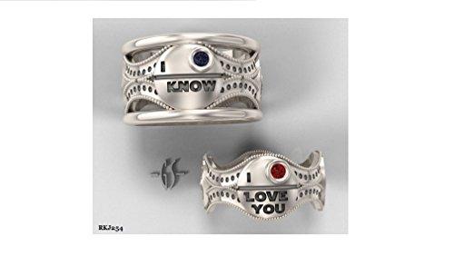 Coppia Lui Lei Matching Star Wars I Love You So rotondo rubino set Anniversario di matrimonio fidanzamento in argento Sterling 925Blu Zaffiro Anello a fascia, tutte le misure disponibili